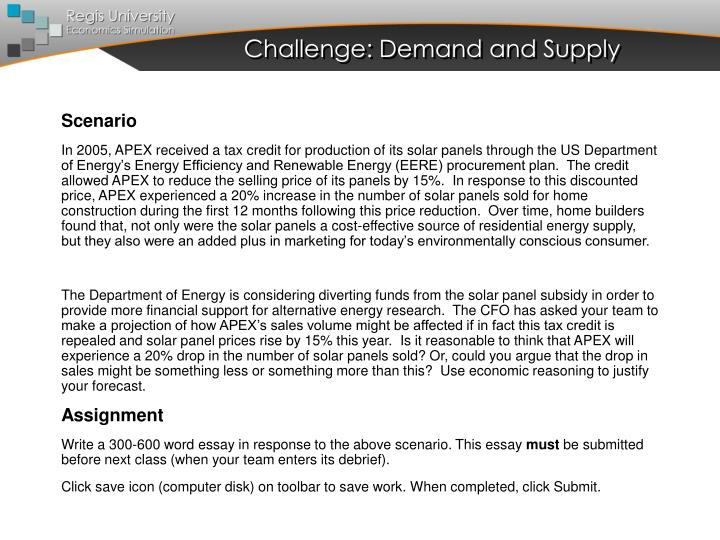 Challenge: Demand and Supply