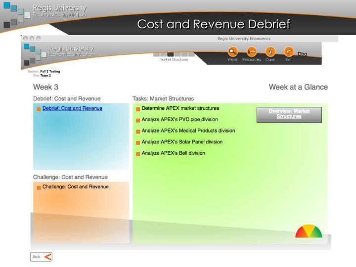 Cost and Revenue Debrief
