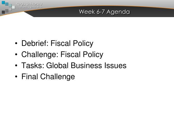 Week 6-7 Agenda