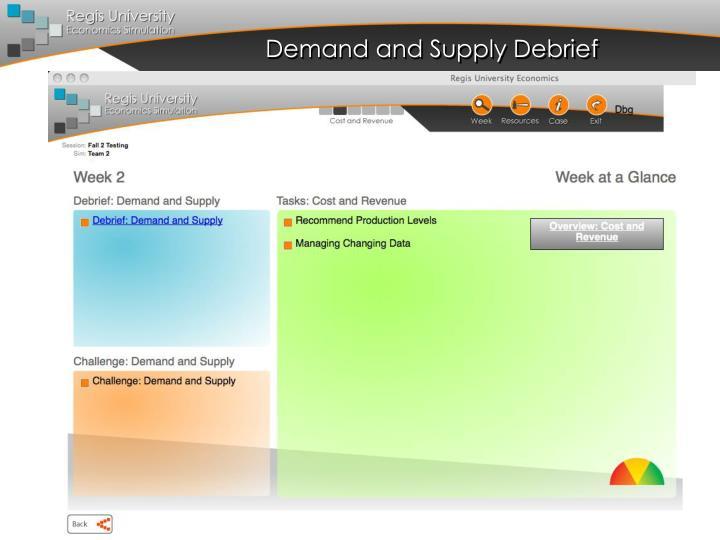 Demand and Supply Debrief