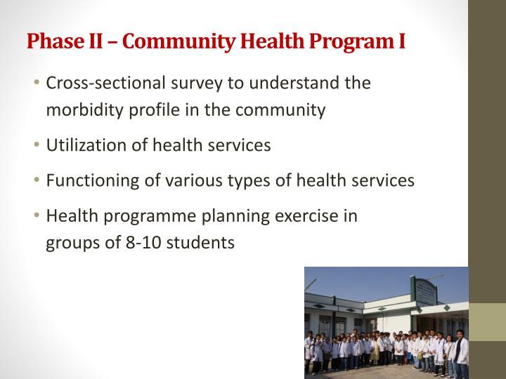 Phase II – Community Health Program I