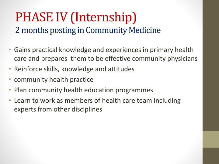 PHASE IV (Internship)