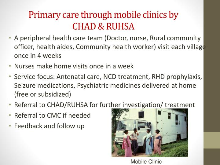 Primary care through mobile clinics by