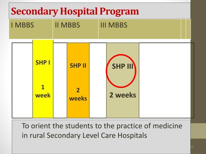 Secondary Hospital Program