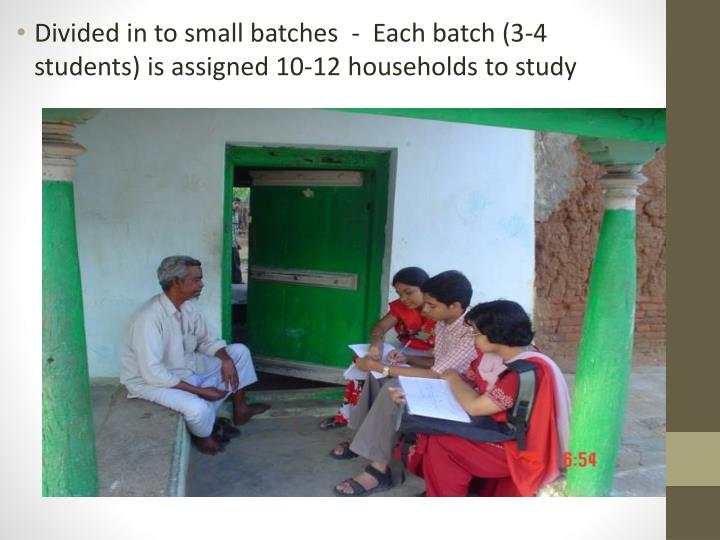 Divided in to small batches  -  Each batch (3-4 students) is assigned 10-12 households to study