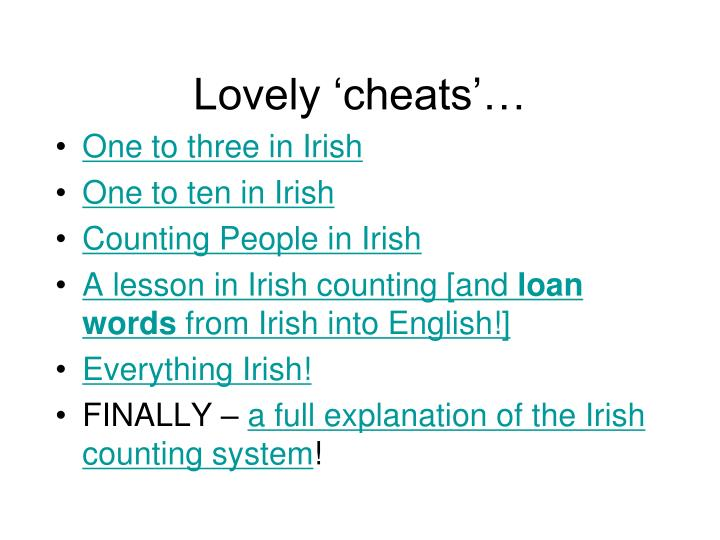 Lovely 'cheats'…