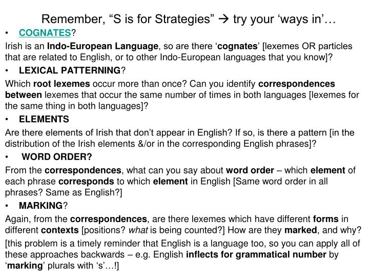 "Remember, ""S is for Strategies"""