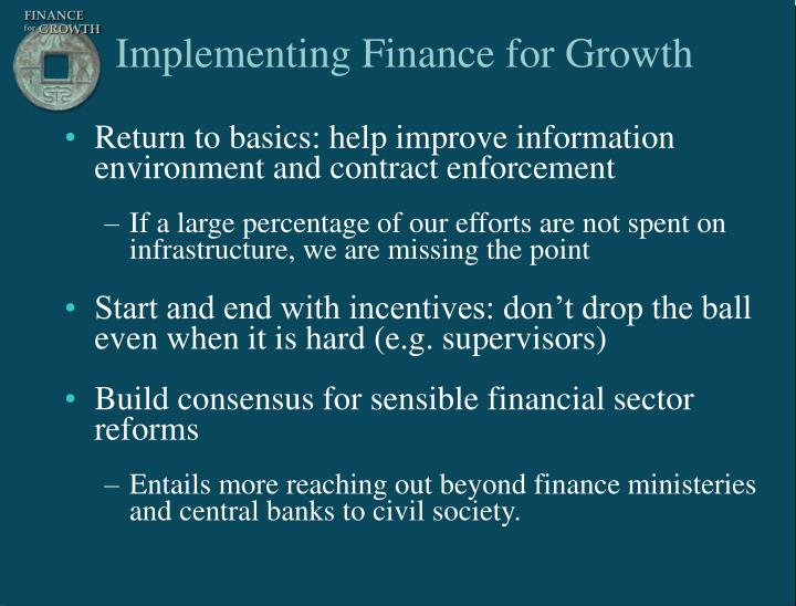 Implementing Finance for Growth