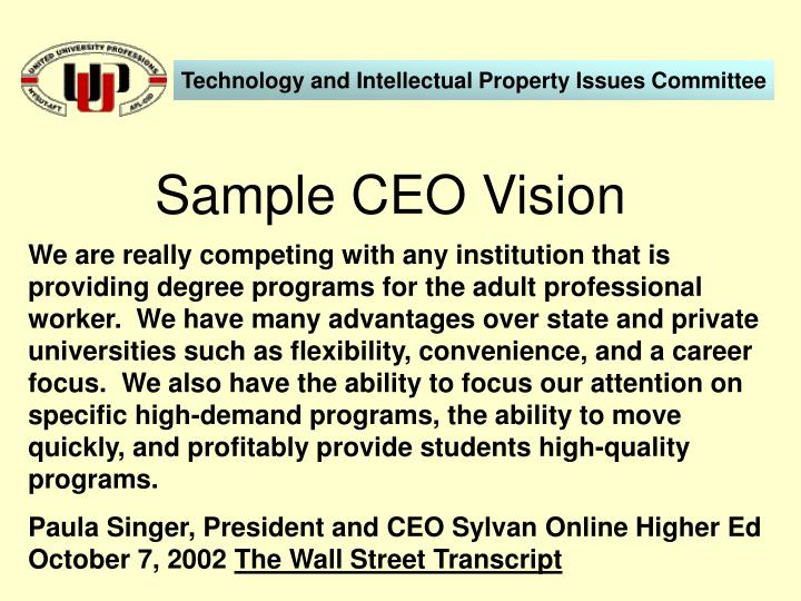 Sample ceo vision