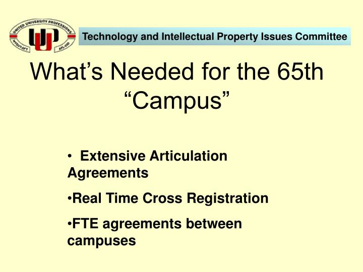 "What's Needed for the 65th ""Campus"""