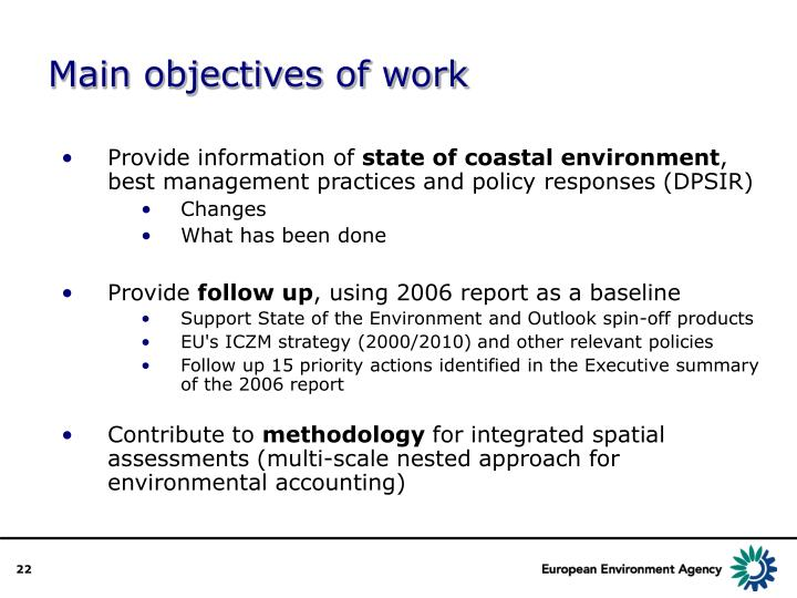 Main objectives of work