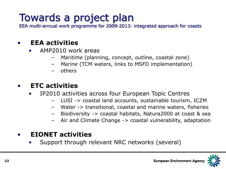 Towards a project plan