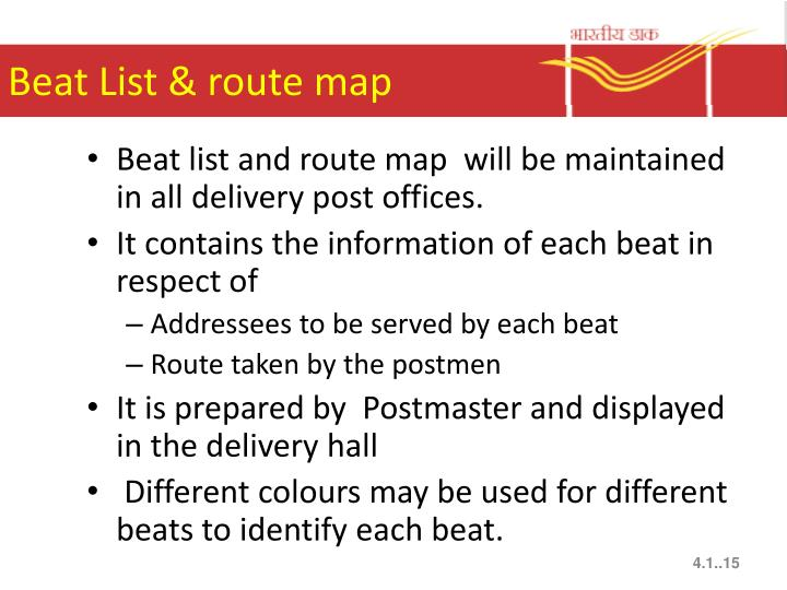 Beat List & route map