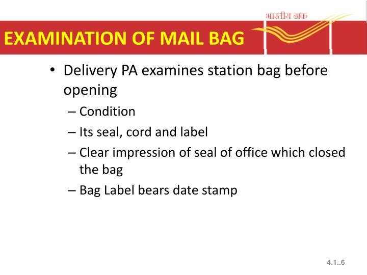 EXAMINATION OF MAIL BAG
