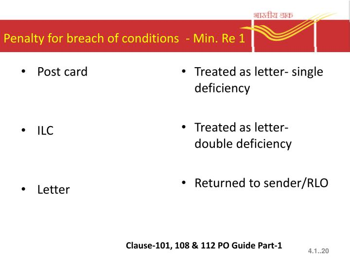 Penalty for breach of conditions  - Min. Re 1