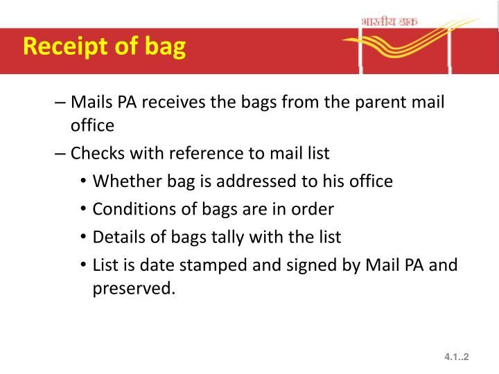 Receipt of bag