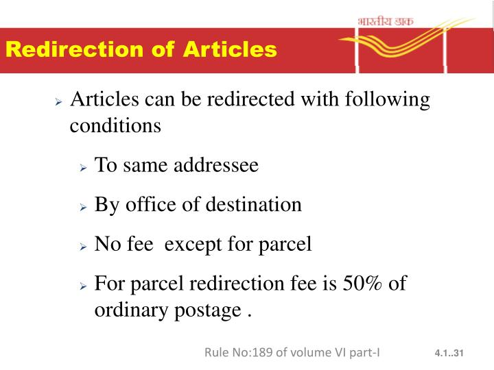 Redirection of Articles