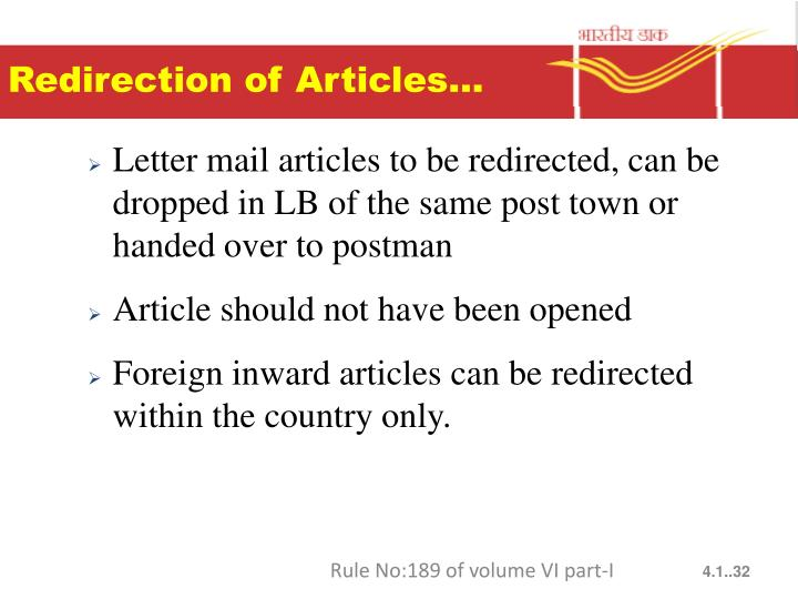 Redirection of Articles…