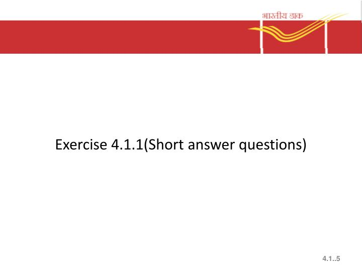 Exercise 4.1.1(Short answer questions)