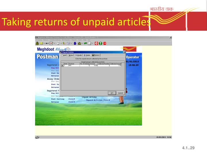 Taking returns of unpaid articles
