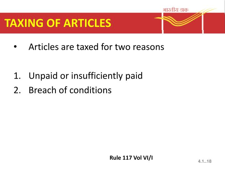 TAXING OF ARTICLES