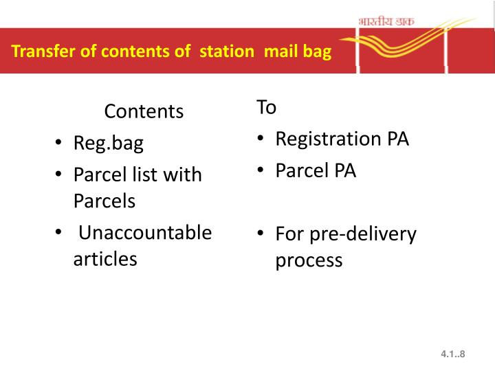Transfer of contents of  station  mail bag