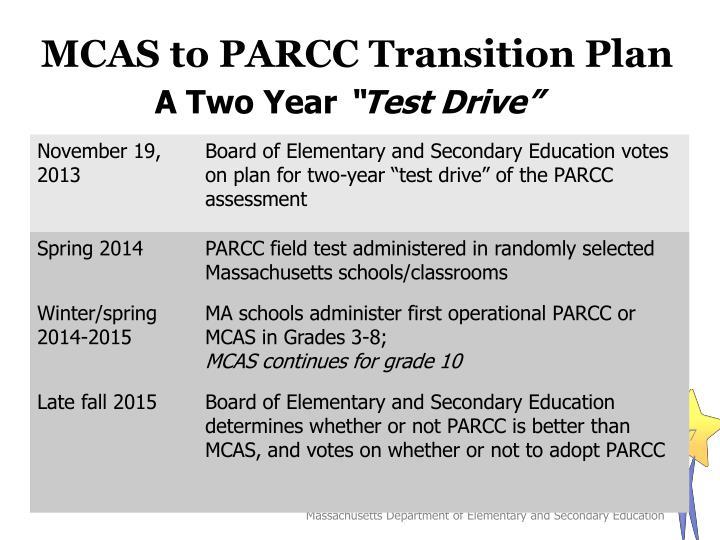 MCAS to PARCC Transition Plan