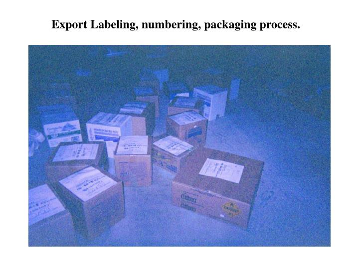 Export Labeling, numbering, packaging process.