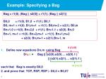 example specifying a bag4