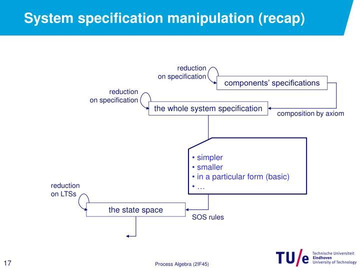 System specification manipulation (recap)