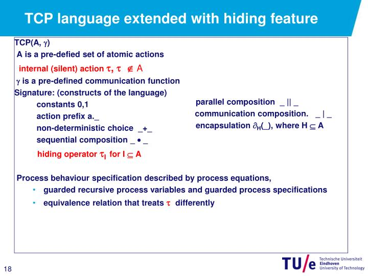 TCP language extended with hiding feature
