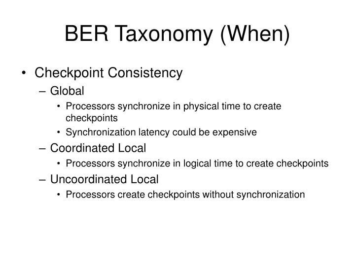 BER Taxonomy (When)