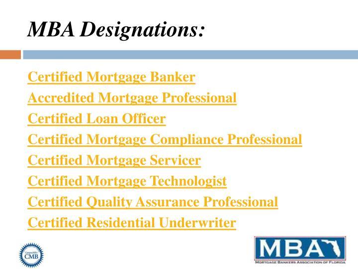 MBA Designations: