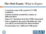 the oral exams what to expect