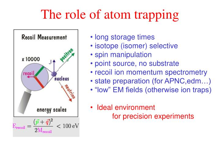 The role of atom trapping