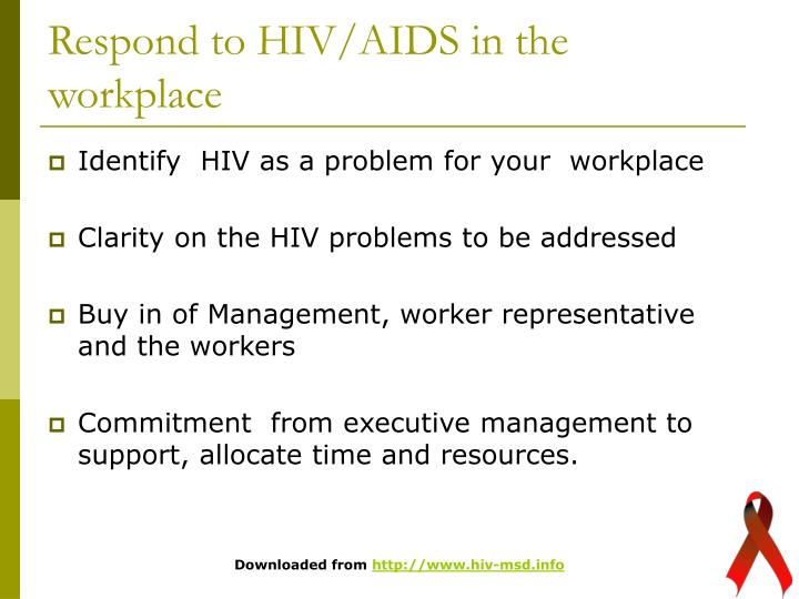 Respond to HIV/AIDS in the workplace