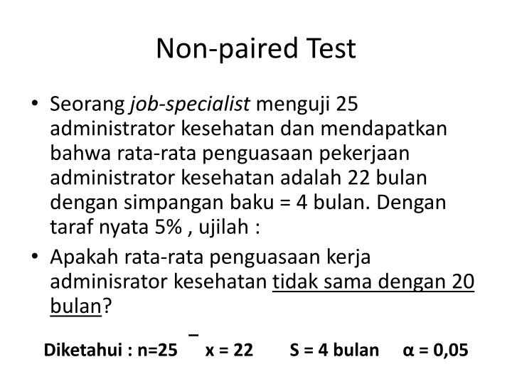 Non-paired Test