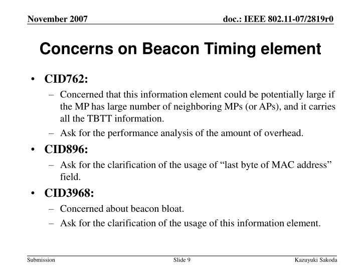 Concerns on Beacon Timing element