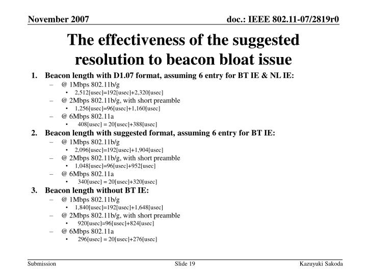 The effectiveness of the suggested resolution to beacon bloat issue