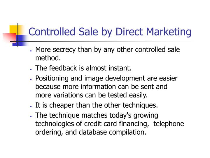 Controlled Sale by Direct Marketing