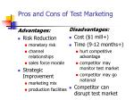 pros and cons of test marketing