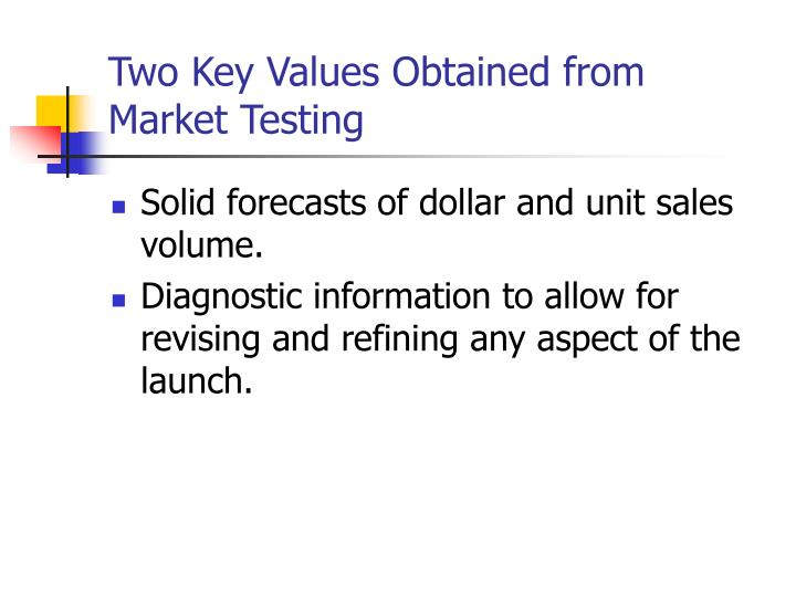 Two Key Values Obtained from Market Testing