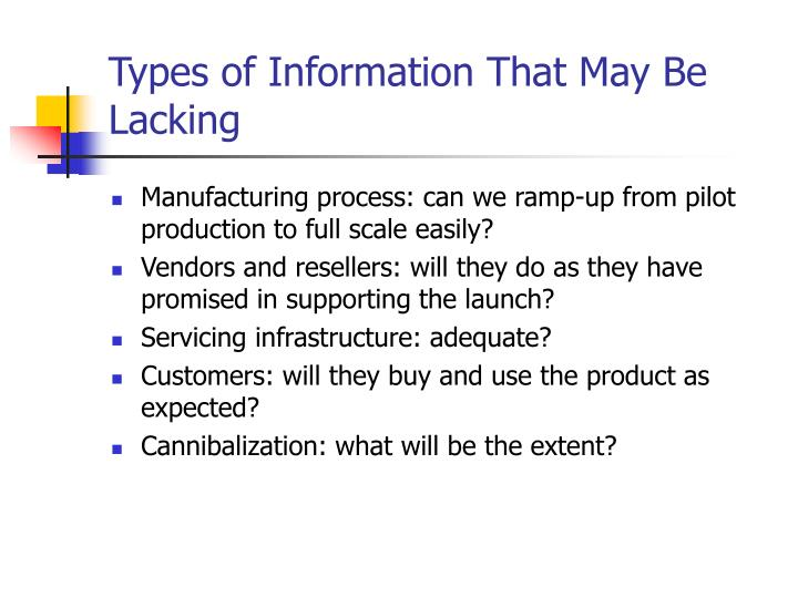 Types of Information That May Be Lacking