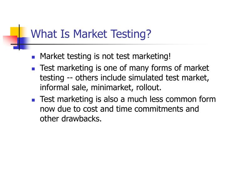 What is market testing