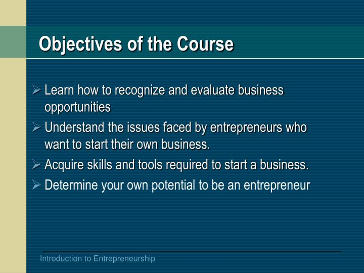 Objectives of the Course