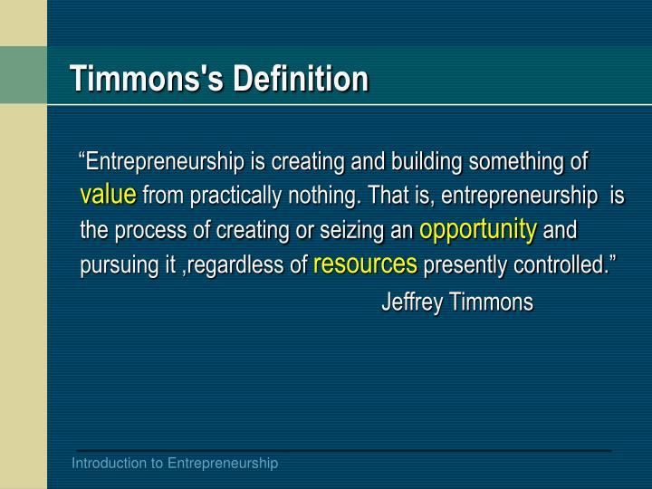 Timmons's Definition