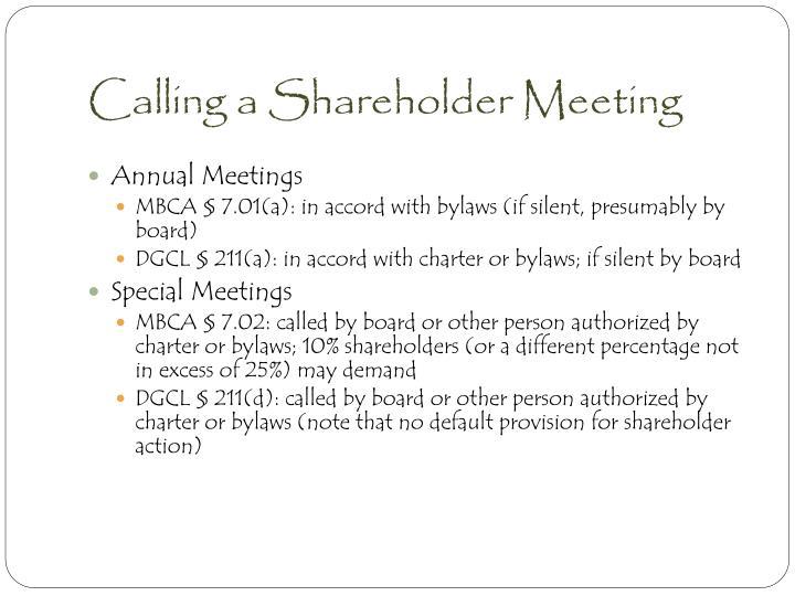 Calling a Shareholder Meeting