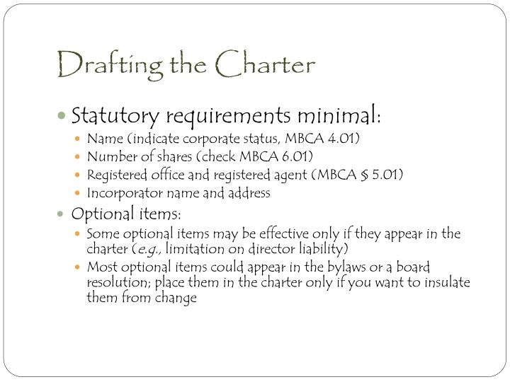 Drafting the Charter