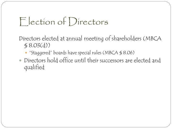 Election of Directors