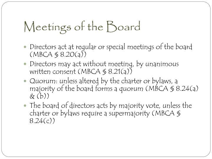 Meetings of the Board